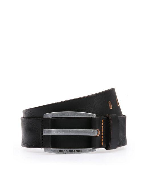 BOSS Orange   Black Leather Belt With Vintage-inspired Buckle for Men   Lyst