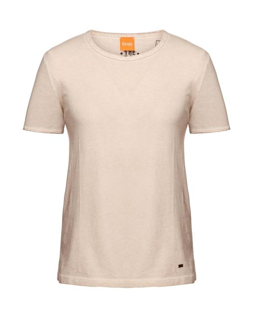 BOSS Orange | Natural Regular-fit T-shirt In Garment-dyed Cotton for Men | Lyst