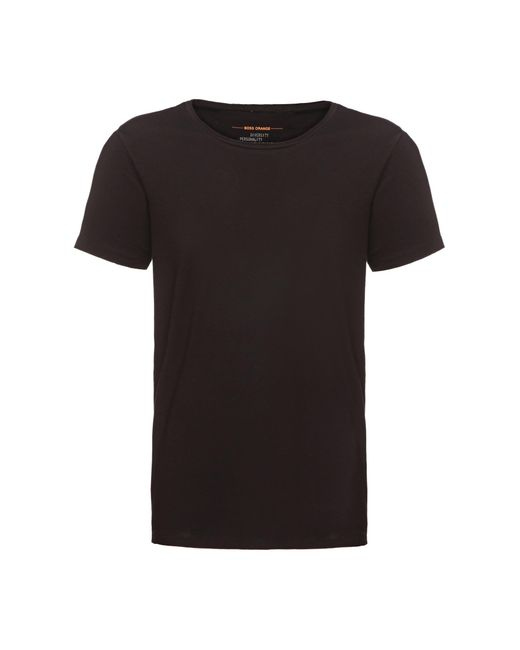 BOSS Orange | Black Regular-fit T-shirt With Raw-cut Detail By for Men | Lyst