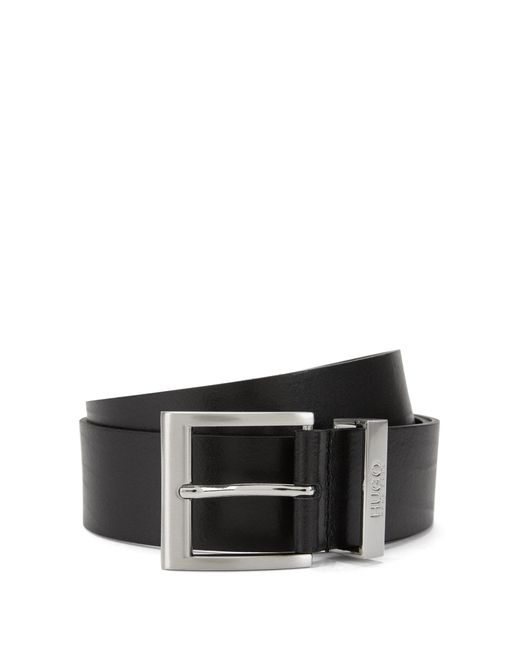 HUGO | Black Leather Belt With Square Pin Buckle By Man for Men | Lyst