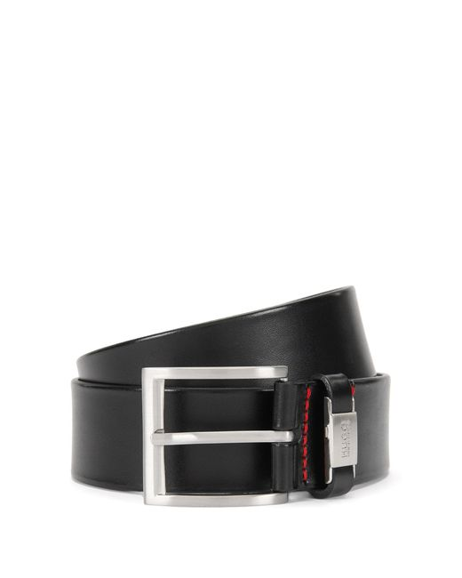 HUGO | Black Leather Belt With Branded Loop for Men | Lyst