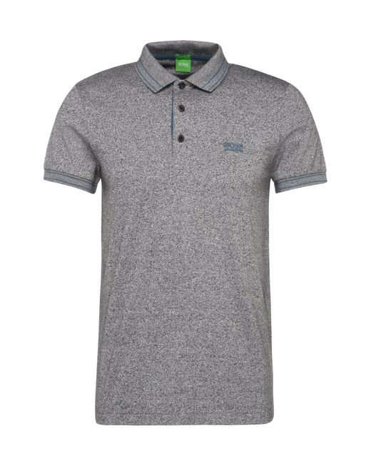 BOSS Green | Gray Slim-fit Cotton Polo Shirt In Salt And Pepper Look: 'paule 2' for Men | Lyst