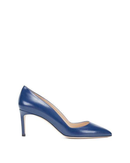 HUGO | Blue Pointed-toe Pumps In Smooth Italian Leather | Lyst