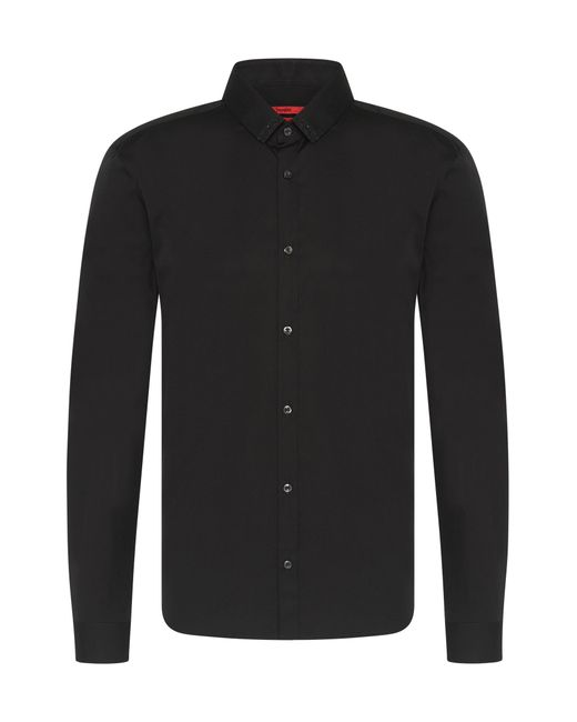 HUGO | Black Plain Slim-fit Cotton Shirt: 'ero3' for Men | Lyst