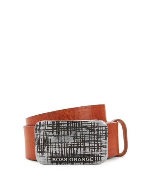 BOSS Orange   Brown Plaque-buckle Belt In Rich Leather for Men   Lyst