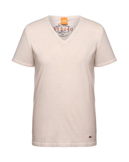 BOSS Orange   Gray Regular-fit T-shirt In Garment-dyed Cotton for Men   Lyst