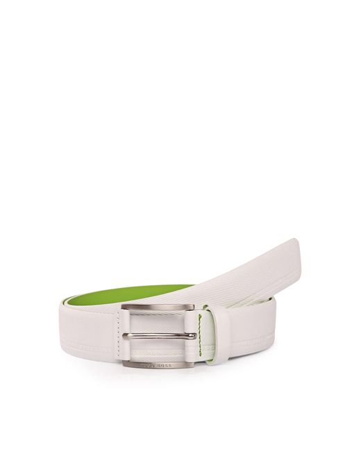 BOSS Green   White Distinctively Textured Leather Belt With Embossed Logos: 'tymos' for Men   Lyst