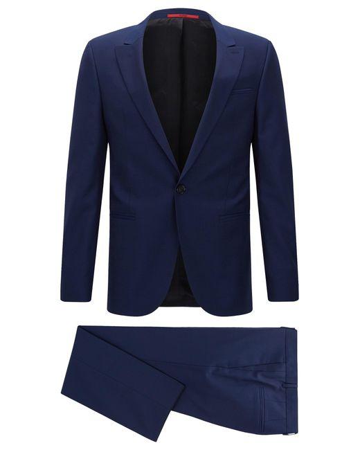 HUGO | Blue 'adgin/hiels' | Slim Fit, Jacquard Italian Super 120 Virgin Wool Suit for Men | Lyst