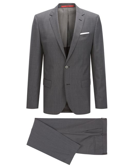 HUGO | Gray 'hutson/gander' | Slim Fit, Textured Check Virgin Wool Blend Suit for Men | Lyst