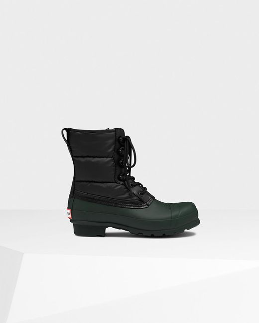 HUNTER | Black Women's Original Quilted Lace Up Boots | Lyst