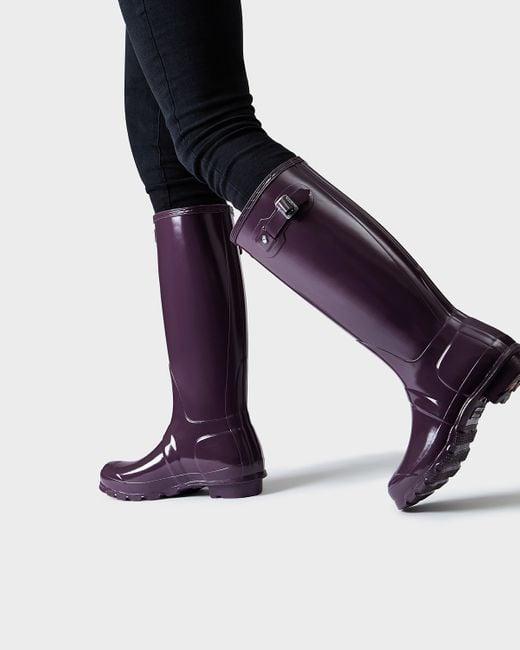 Hunter Women S Original Tall Gloss Rain Boots In Purple Lyst