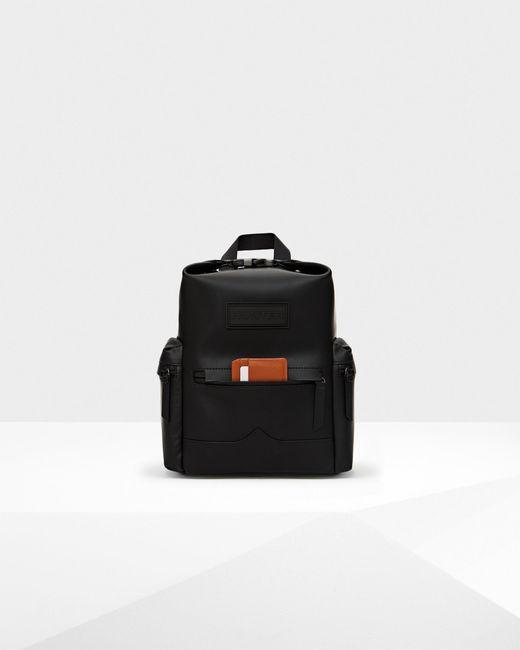Hunter Black Original Mini Top Clip Backpack - Rubberised Leather