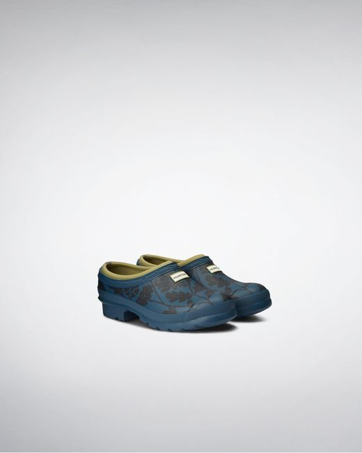 Hunter Blue National Trust Print Gardener Clog