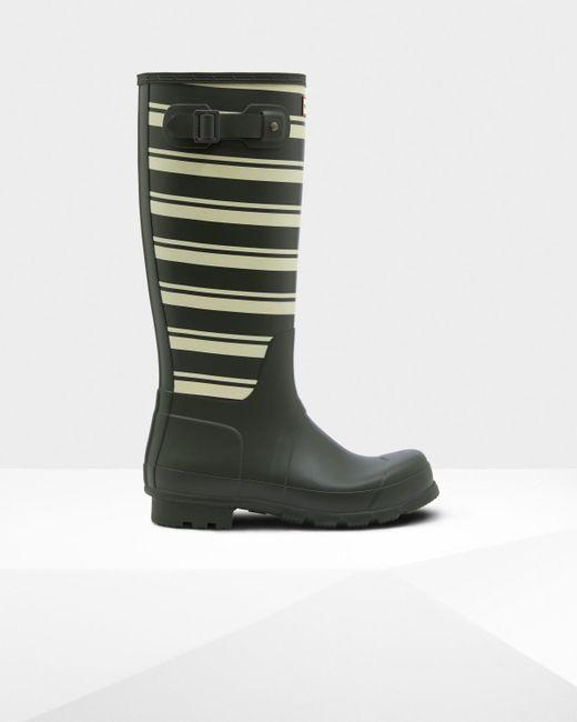 Hunter - Green Men's Original Garden Stripe Tall Rain Boots for Men - Lyst