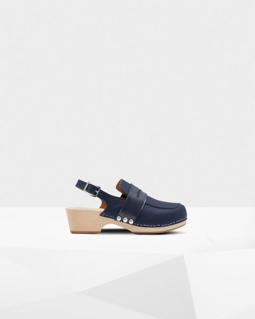 Hunter - Blue Refined Penny Loafer Clogs - Lyst
