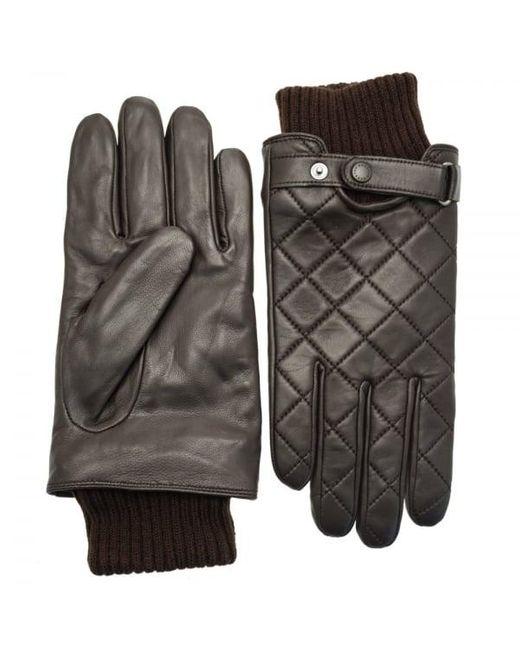 Barbour Brown Quilted Leather Gloves for men