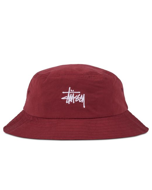Stussy Classic Logo Bucket Hat in Red | Lyst