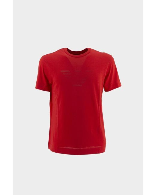 Emporio Armani Red T-shirt With Logo for men