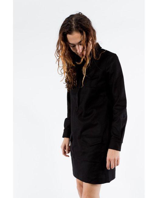 YMC | Black Wool Shirt Dress | Lyst