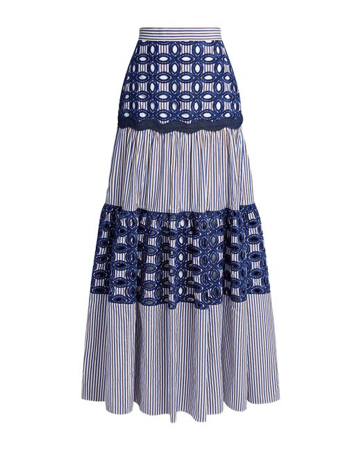 Alexis Blue Kyndal Embroidered Striped Maxi Skirt