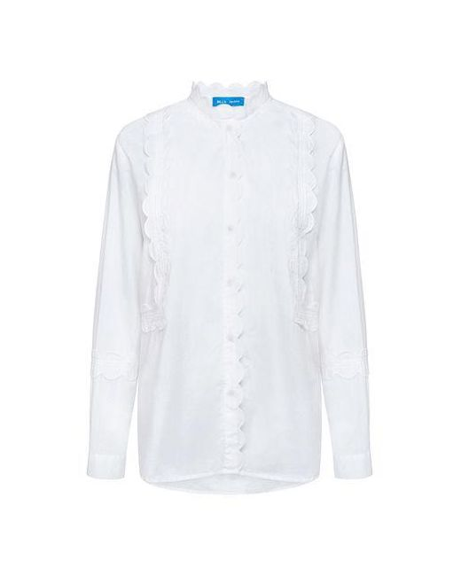 MiH Jeans - White Ile Scallop Crisp Shirt - Lyst