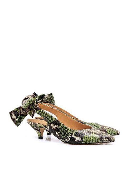 17d1534aaa4 ... Ganni - Multicolor Leather Sabine Snake-effect Pointed-toe Bow Tie  Slingback Kitten Heels ...