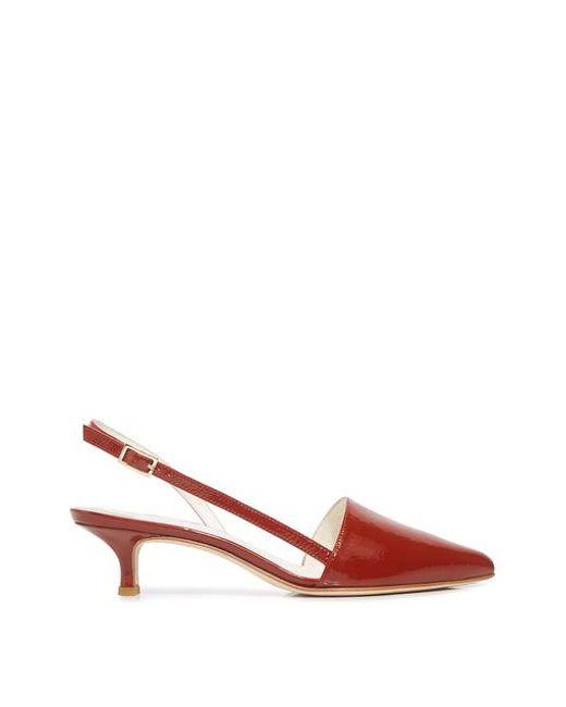 15a8405ae67 Tibi - Red Simon Crinkle Patent Pointed-toe Slingback Kitten Heels - Lyst  ...
