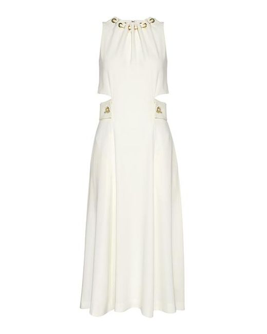 10 Crosby Derek Lam White Grommet And Lacing Detailed Cutout Midi Dress