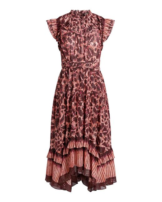 Ulla Johnson Red Amalia Printed Ruffle Midi Dress
