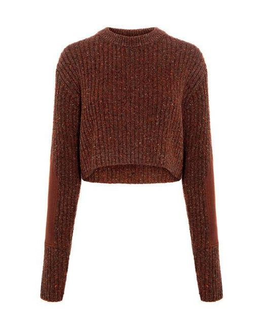 Tibi - Multicolor Elbow Patch Rib Cropped Sweater - Lyst