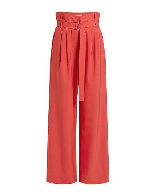Tibi - Red Stella Tropical Wool Paperbag Belted Wide-leg Pants - Lyst