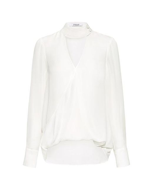 10 Crosby Derek Lam - White Gigi V-neck Collar Silk Blouse - Lyst