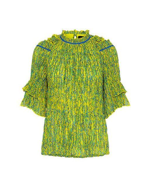 Saloni - Green Cora Crinkled Chiffon Floral Ruffle Blouse - Lyst
