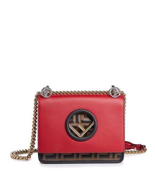 d1a5af6427aa Fendi - Multicolor Kan I Logo Small Embossed Leather Shoulder Bag - Lyst ...