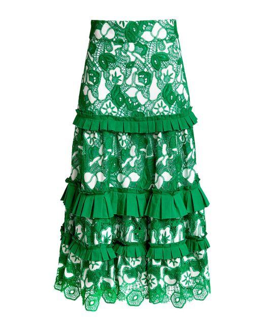 Alexis Green Marsa Lace Ruffled Midi Skirt