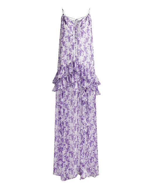 Caroline Constas Purple Isla Floral Silk-chiffon Ruffled Maxi Dress