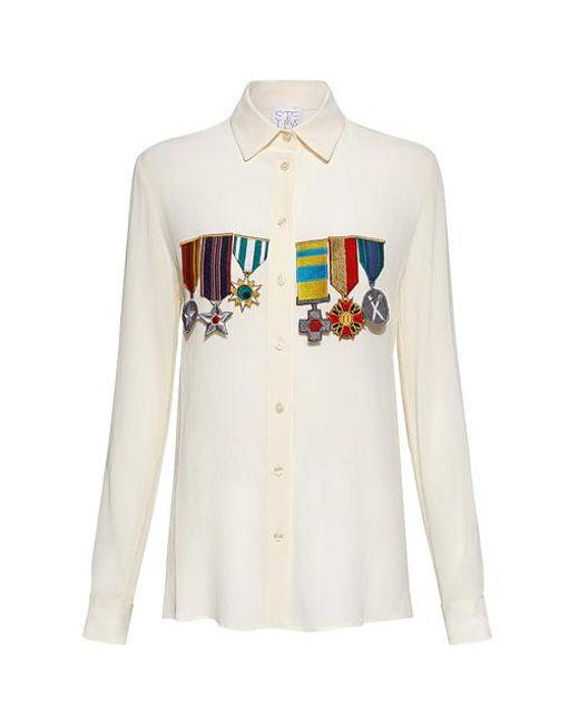 Stella Jean White Military Detail Shirt Blouse