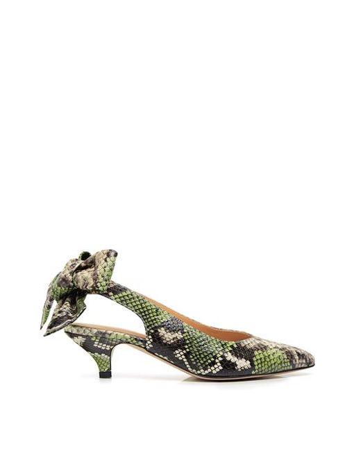 83aa31cf320 Ganni - Multicolor Leather Sabine Snake-effect Pointed-toe Bow Tie  Slingback Kitten Heels ...