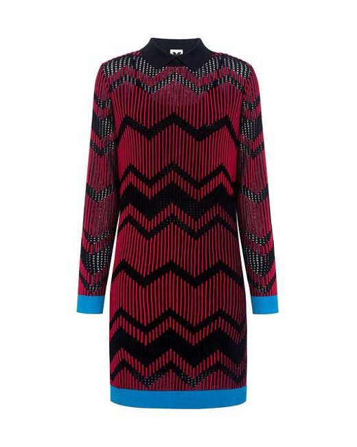 M Missoni - Red Bicolor Mesh Zig Zag Dress - Lyst