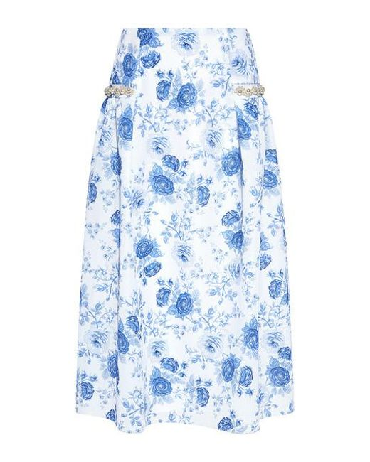 Mother Of Pearl - Blue Dorcus Pearl And Floral Neoprene Midi Skirt - Lyst