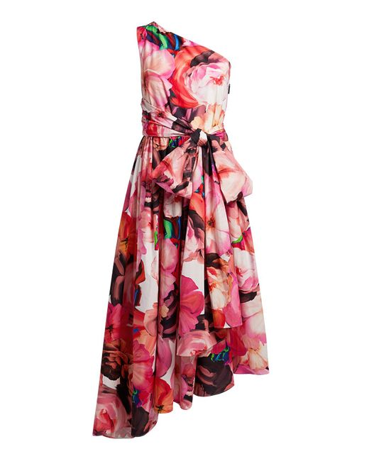 MSGM Red Abito Floral One-shoulder Midi Dress