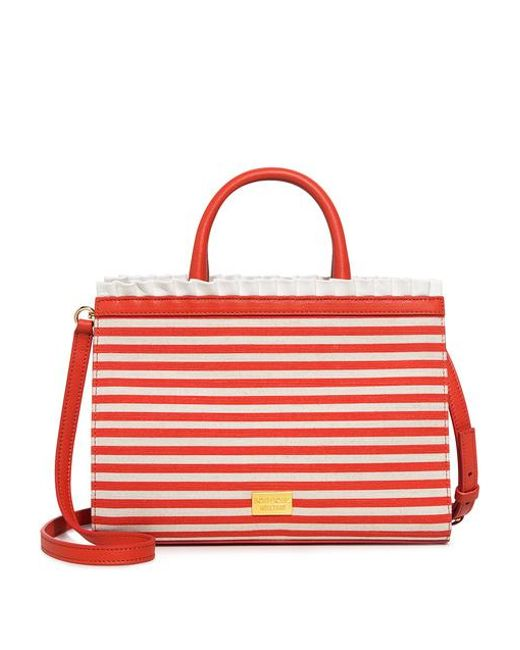 Boutique Moschino - Red Striped Ruffle Satchel - Lyst