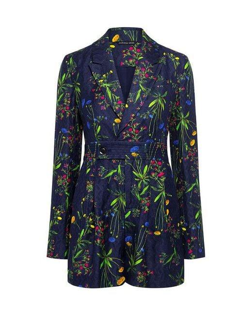 Marissa Webb - Blue Edison Jacquard Suit Romper - Lyst