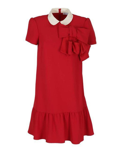 Abito bon ton in crepe satin di RED Valentino in Red