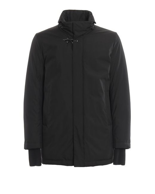 Fay Black Concealed Hood Water Repellent Padded Coat for men