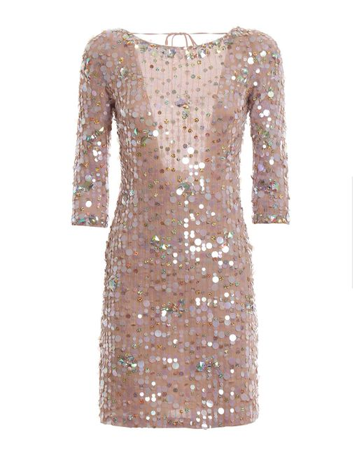 Blumarine Multicolor Backless All Over Sequined Dress