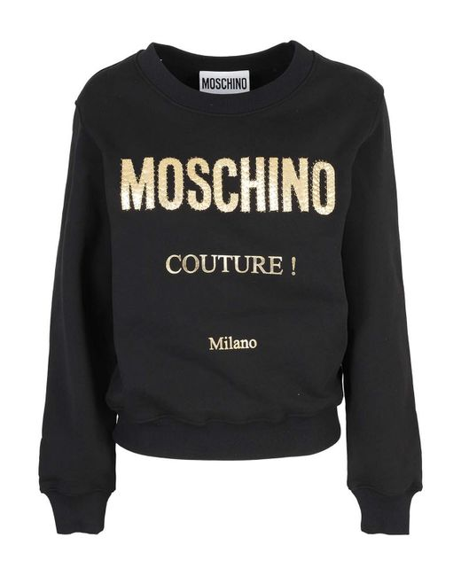 Felpa con stampa logo di Moschino Couture in Black