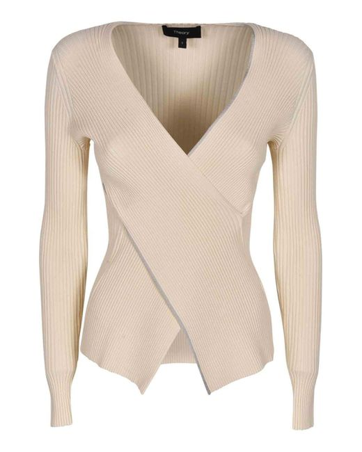 Theory White Wrap Sweater In Ivory