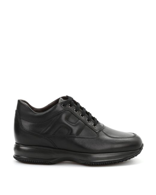 Hogan Black Interactive Leather Sneakers for men