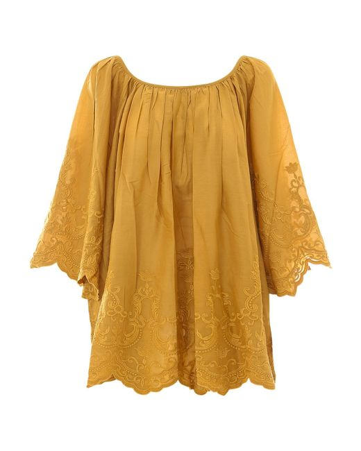 Mes Demoiselles Yellow Embroidered Cotton Blouse